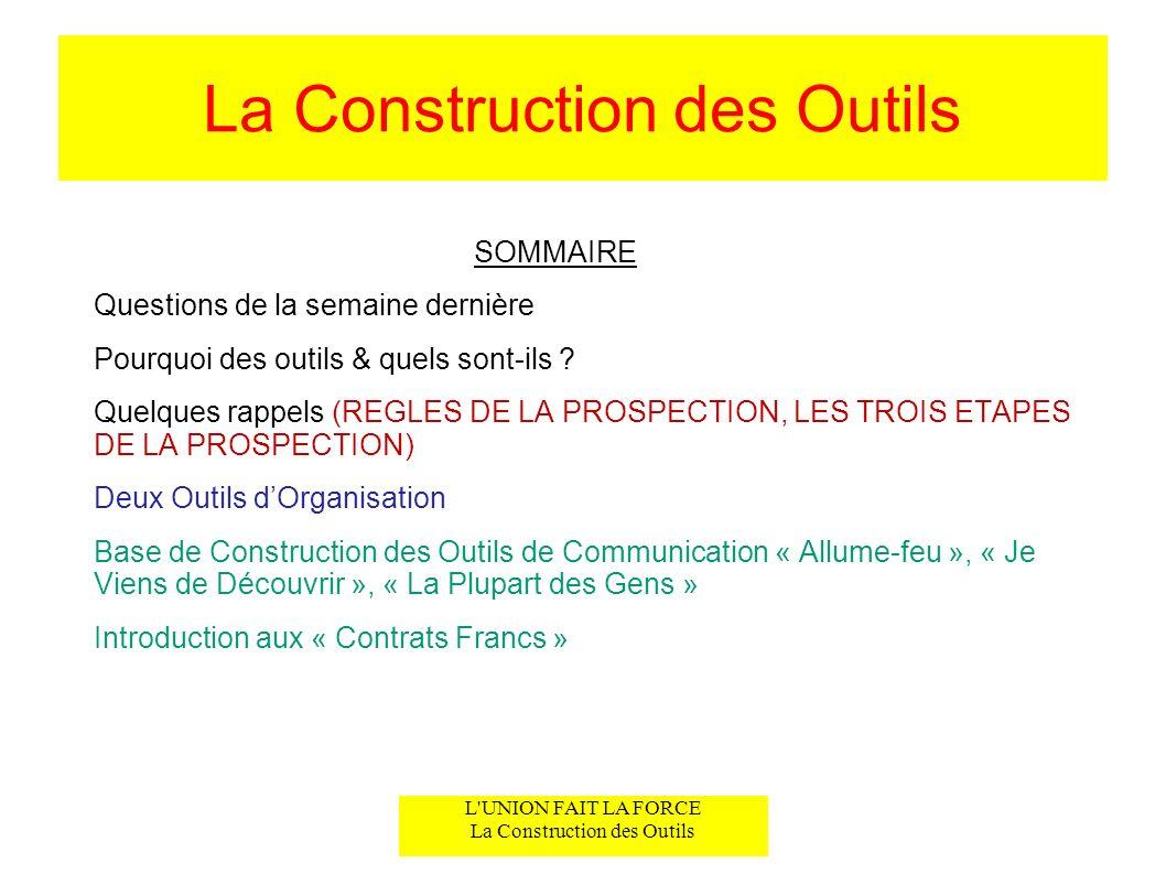L UNION FAIT LA FORCE La Construction des Outils La Construction des Outils SOMMAIRE Questions de la semaine dernière Pourquoi des outils & quels sont-ils .