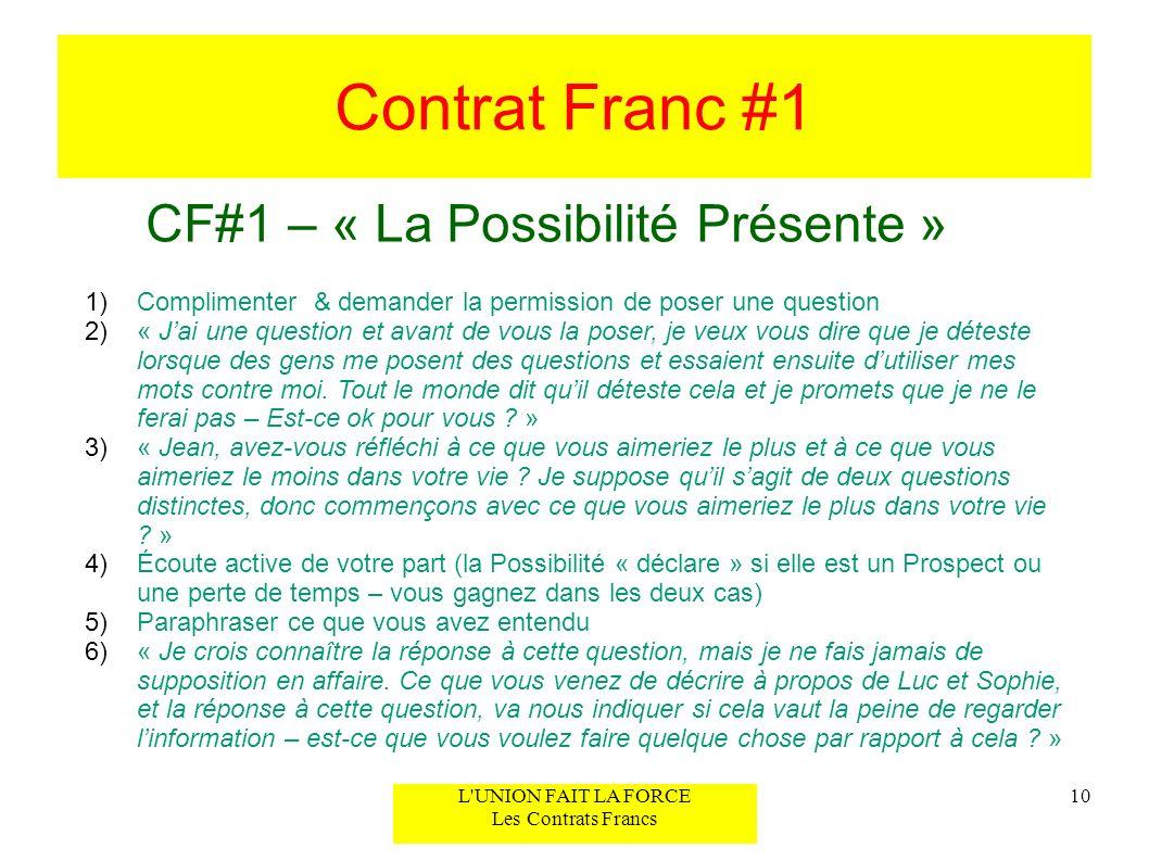 Contrat Franc #1 CF#1 – « La Possibilité Présente » 10L'UNION FAIT LA FORCE Les Contrats Francs 1)Complimenter & demander la permission de poser une q