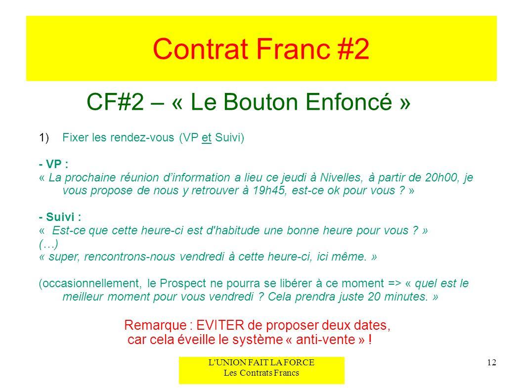 Contrat Franc #2 CF#2 – « Le Bouton Enfoncé » 12L'UNION FAIT LA FORCE Les Contrats Francs 1)Fixer les rendez-vous (VP et Suivi) - VP : « La prochaine