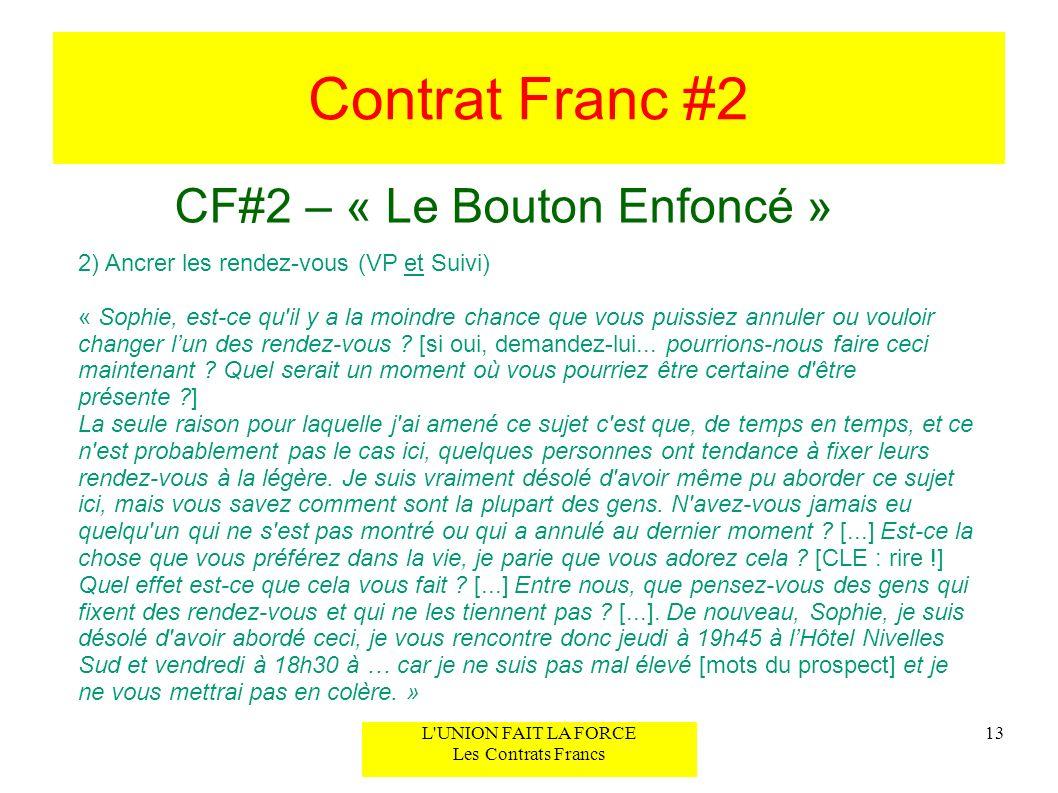 Contrat Franc #2 CF#2 – « Le Bouton Enfoncé » 13L'UNION FAIT LA FORCE Les Contrats Francs 2) Ancrer les rendez-vous (VP et Suivi) « Sophie, est-ce qu'