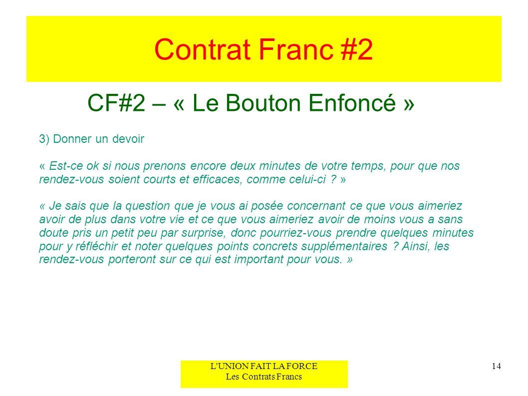 Contrat Franc #2 CF#2 – « Le Bouton Enfoncé » 14L'UNION FAIT LA FORCE Les Contrats Francs 3) Donner un devoir « Est-ce ok si nous prenons encore deux