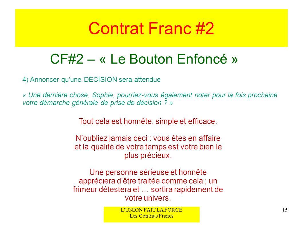Contrat Franc #2 CF#2 – « Le Bouton Enfoncé » 15L'UNION FAIT LA FORCE Les Contrats Francs 4) Annoncer quune DECISION sera attendue « Une dernière chos