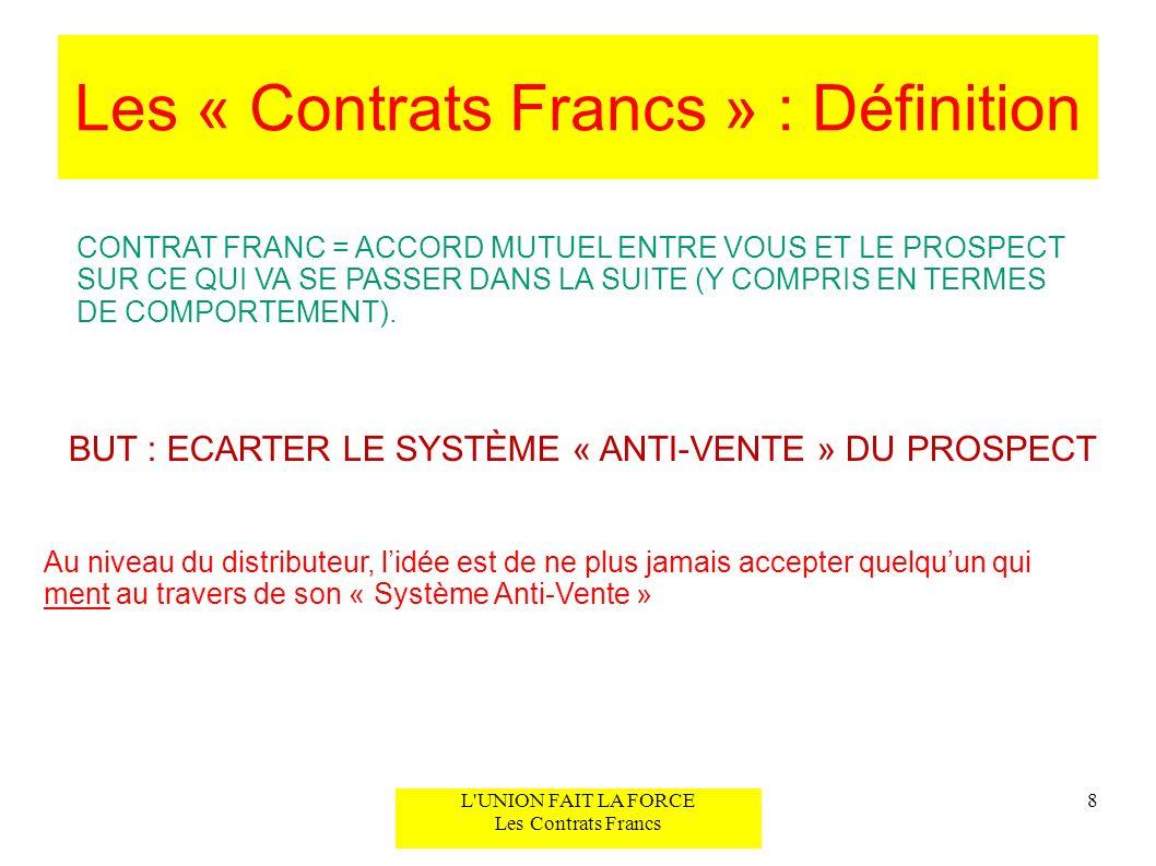 Contrat Franc #1 CF#1 – « La Possibilité Présente » 9L UNION FAIT LA FORCE Les Contrats Francs CONTEXTE : Votre AF et « La Plupart des Gens » a transformé le Suspect en Possibilité et elle accepte de recevoir plus dinformation (en ligne ou en ABC) => Vous utilisez CF#1 pour élever votre Possibilité au rang de Prospect et lamener, si cest opportun, à vouloir un rendez- vous pour les étapes 2 et 3.