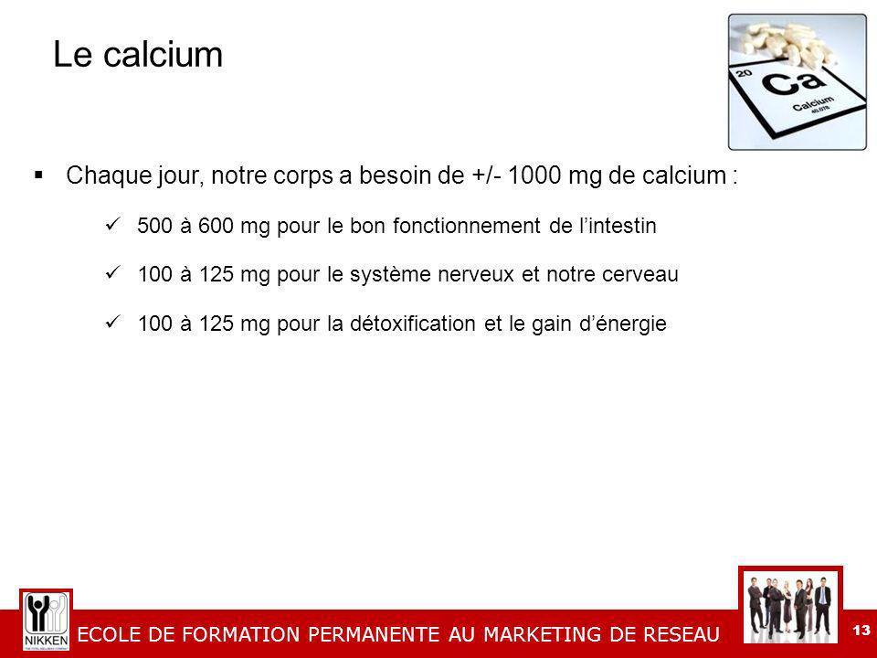 ECOLE DE FORMATION PERMANENTE AU MARKETING DE RESEAU 13 Le calcium Chaque jour, notre corps a besoin de +/- 1000 mg de calcium : 500 à 600 mg pour le bon fonctionnement de lintestin 100 à 125 mg pour le système nerveux et notre cerveau 100 à 125 mg pour la détoxification et le gain dénergie