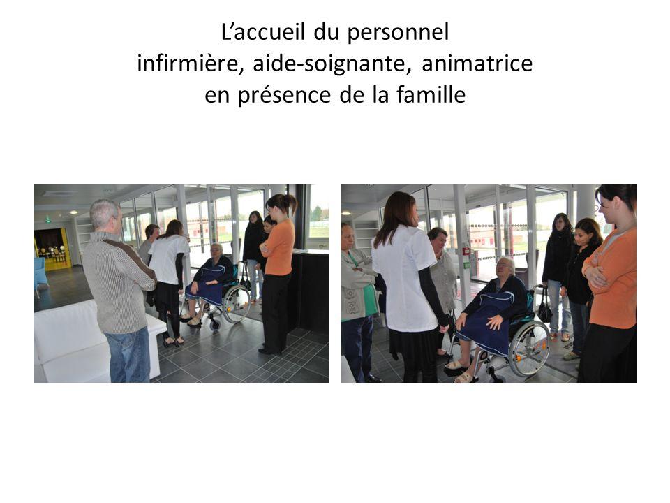 Laccueil du personnel infirmière, aide-soignante, animatrice en présence de la famille