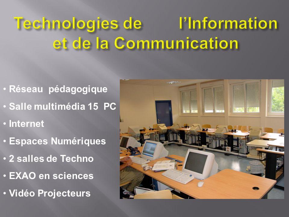 Réseau pédagogique Salle multimédia 15 PC Internet Espaces Numériques 2 salles de Techno EXAO en sciences Vidéo Projecteurs