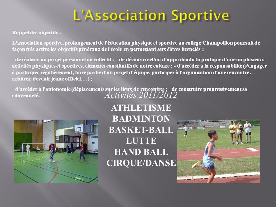 Rappel des objectifs : L'association sportive, prolongement de l'éducation physique et sportive au collège Champollion poursuit de façon très active l