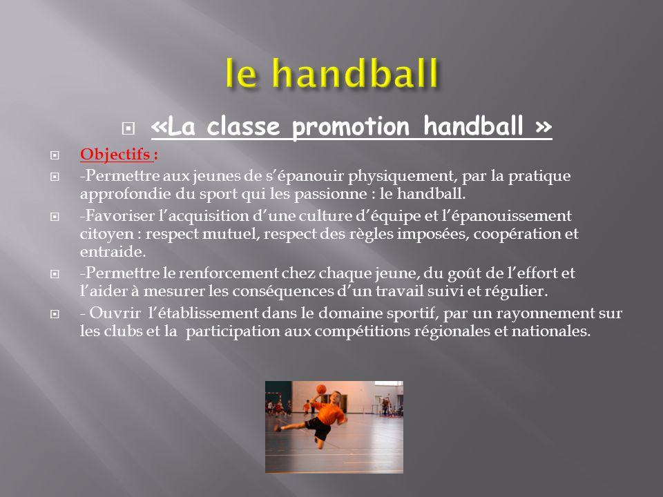 «La classe promotion handball » Objectifs : -Permettre aux jeunes de sépanouir physiquement, par la pratique approfondie du sport qui les passionne :