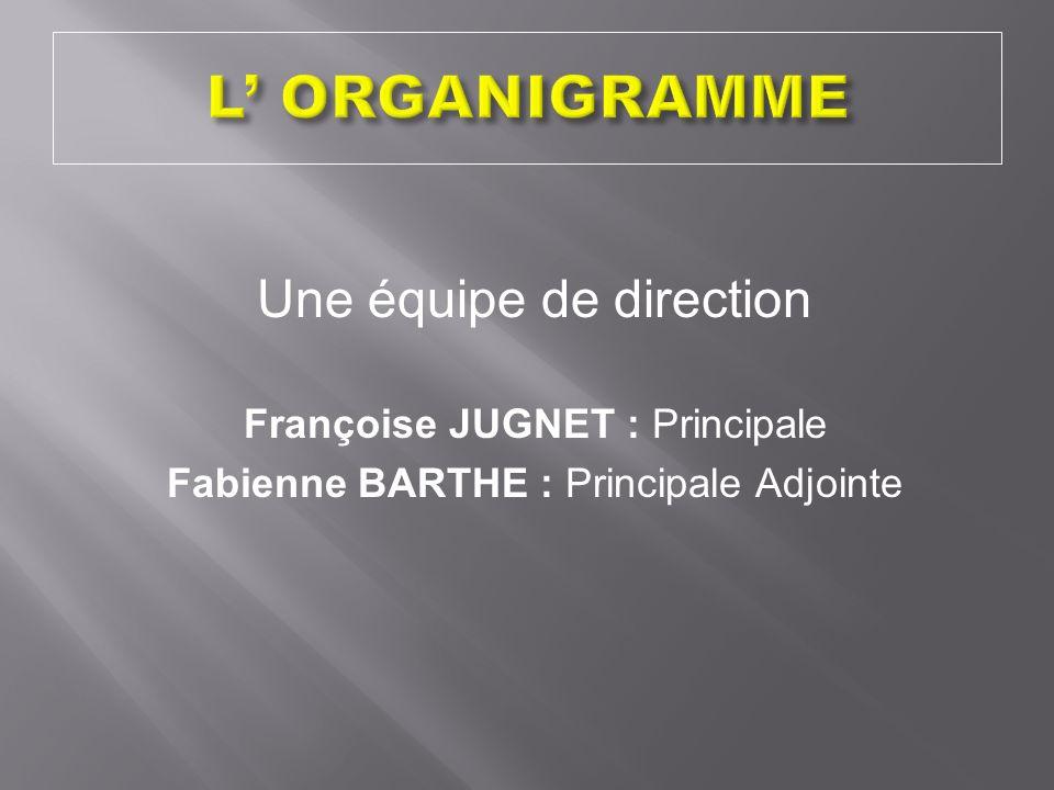 Une équipe de direction Françoise JUGNET : Principale Fabienne BARTHE : Principale Adjointe