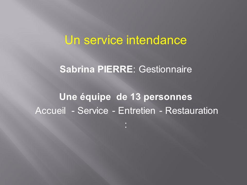 Un service intendance Sabrina PIERRE: Gestionnaire Une équipe de 13 personnes Accueil - Service - Entretien - Restauration :