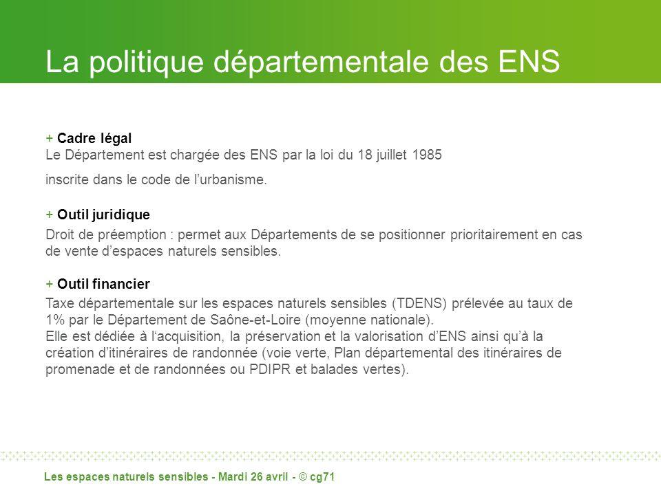 La politique départementale des ENS + Cadre légal Le Département est chargée des ENS par la loi du 18 juillet 1985 inscrite dans le code de lurbanisme