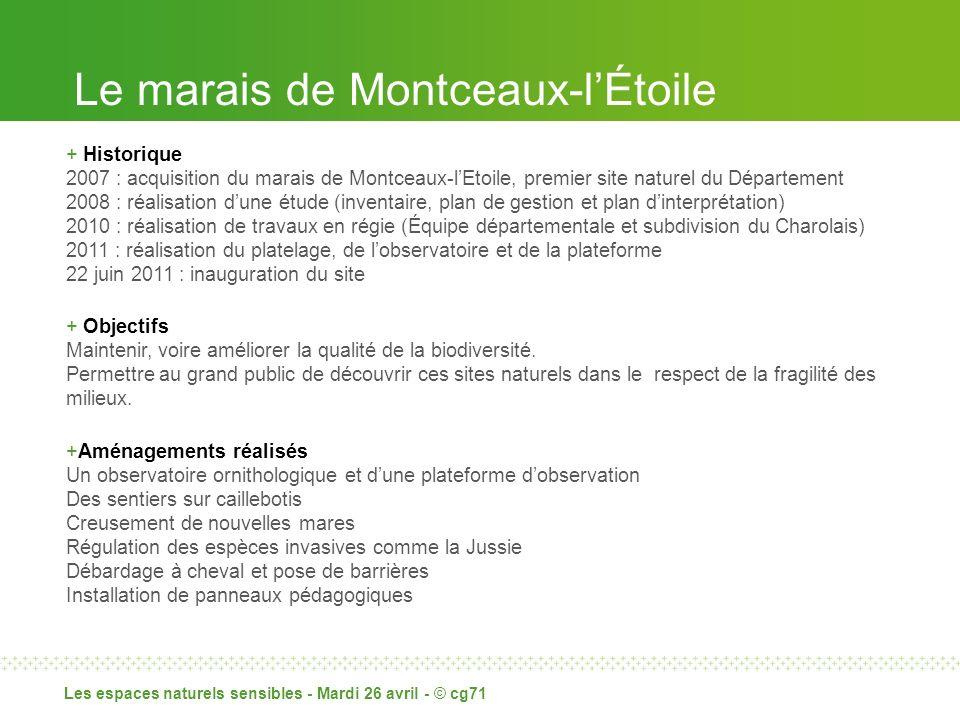 Le marais de Montceaux-lÉtoile Les espaces naturels sensibles - Mardi 26 avril - © cg71 + Historique 2007 : acquisition du marais de Montceaux-lEtoile