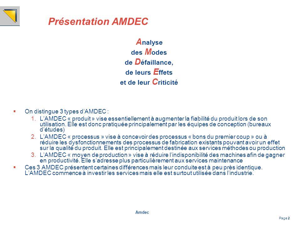 Amdec Page 2 Présentation AMDEC A nalyse des M odes de D éfaillance, de leurs E ffets et de leur C riticité On distingue 3 types dAMDEC : 1.LAMDEC « p