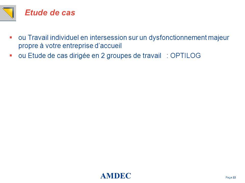 AMDEC Page 22 Etude de cas ou Travail individuel en intersession sur un dysfonctionnement majeur propre à votre entreprise daccueil ou Etude de cas di
