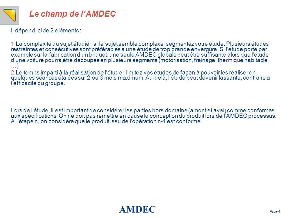 AMDEC Page 4 Le champ de lAMDEC Il dépend ici de 2 éléments : 1.La complexité du sujet étudié : si le sujet semble complexe, segmentez votre étude. Pl