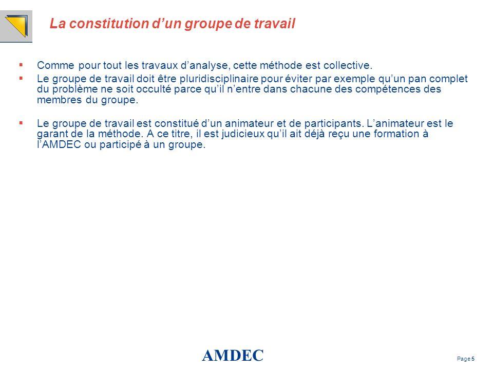 AMDEC Page 5 La constitution dun groupe de travail Comme pour tout les travaux danalyse, cette méthode est collective. Le groupe de travail doit être