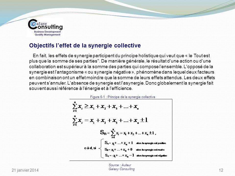 21 janvier 2014 12 Objectifs leffet de la synergie collective En fait, les effets de synergie participent du principe holistique qui veut que « le Tou