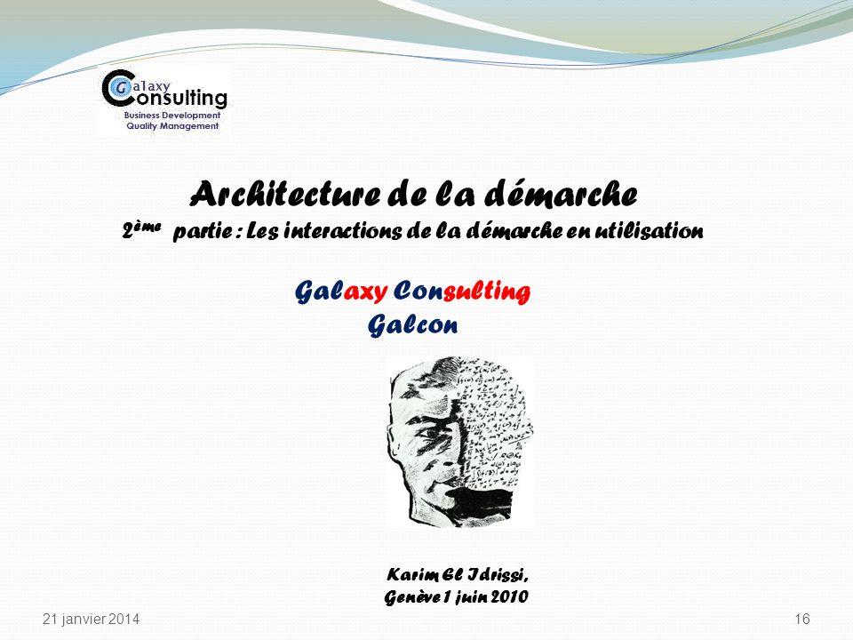 21 janvier 2014 16 Karim El Idrissi, Genève 1 juin 2010 Architecture de la démarche 2 ème partie : Les interactions de la démarche en utilisation Gala