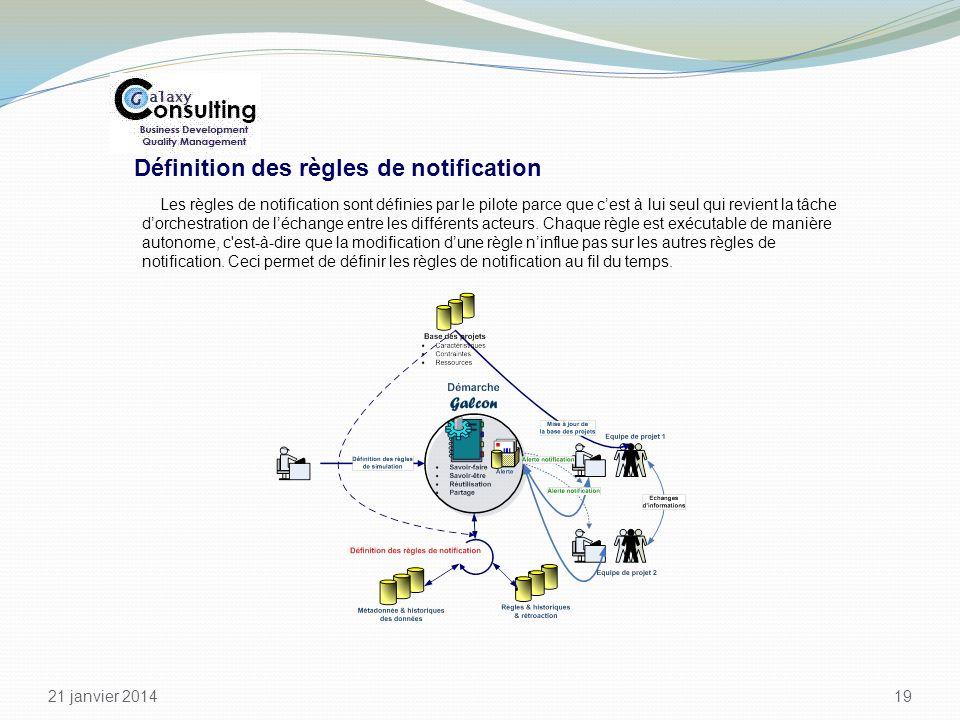 21 janvier 2014 19 Définition des règles de notification Les règles de notification sont définies par le pilote parce que cest à lui seul qui revient