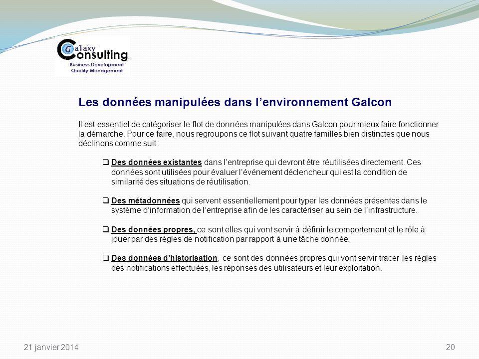 21 janvier 2014 20 Les données manipulées dans lenvironnement Galcon Il est essentiel de catégoriser le flot de données manipulées dans Galcon pour mi