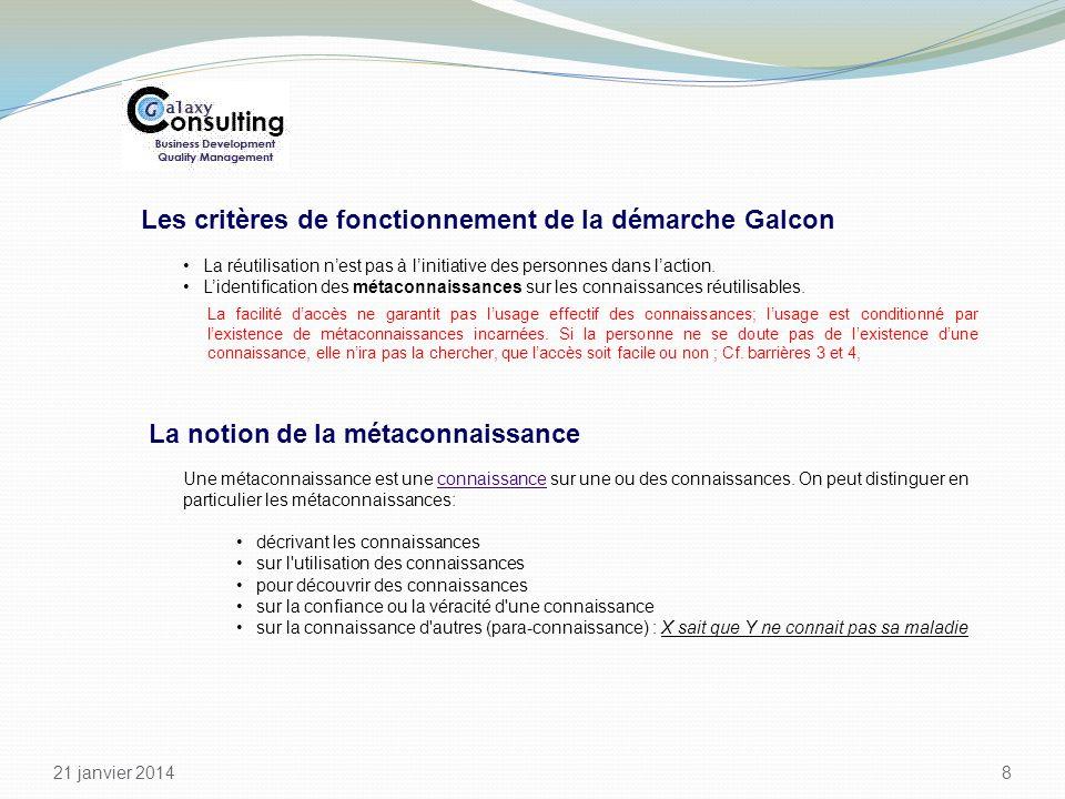 21 janvier 2014 8 Les critères de fonctionnement de la démarche Galcon La réutilisation nest pas à linitiative des personnes dans laction. Lidentifica
