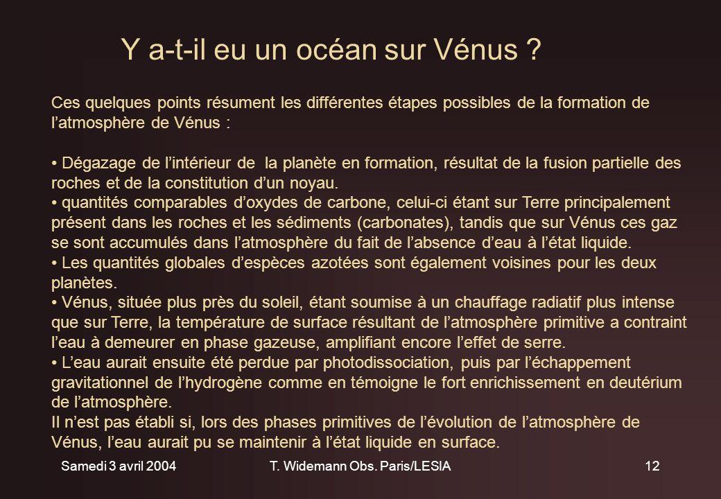 Samedi 3 avril 2004T. Widemann Obs. Paris/LESIA12 Y a-t-il eu un océan sur Vénus .