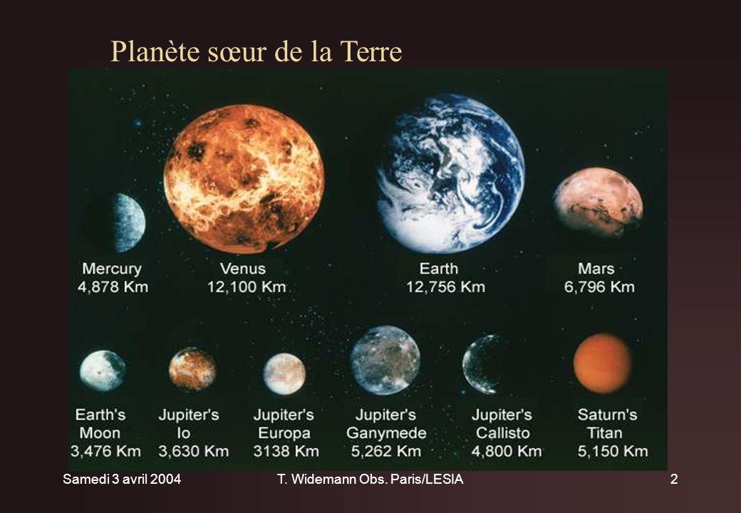 Samedi 3 avril 2004T. Widemann Obs. Paris/LESIA2 Plan Planète sœur de la Terre