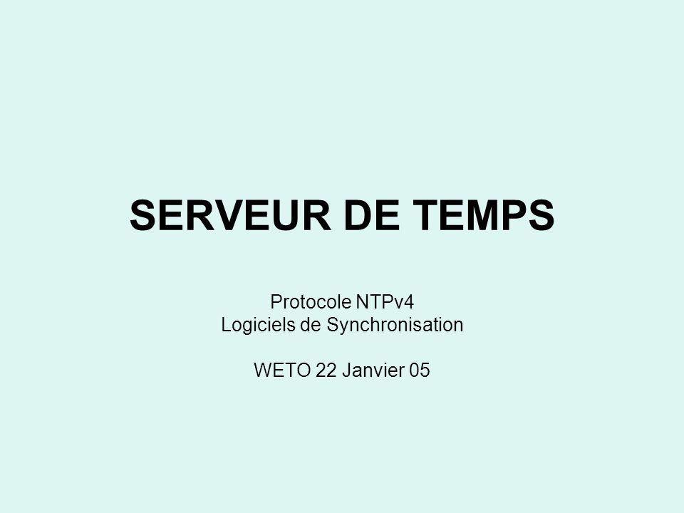 Le protocole NTPv4 Codage –T1 client timestamp sur le paquet émis, –T2 serveur timestamp au moment où il arrive, –T3 serveur timestamp au moment où la réponse est faite au message –T4 client timestamp à linstant où il arrive.