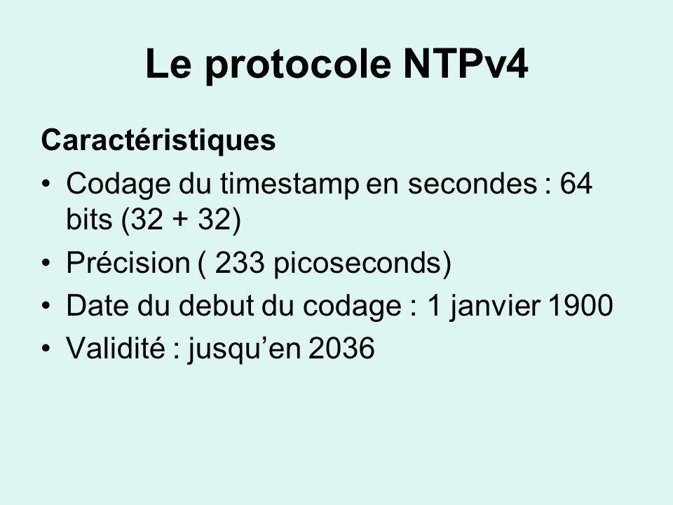 Le protocole NTPv4 Caractéristiques Codage du timestamp en secondes : 64 bits (32 + 32) Précision ( 233 picoseconds) Date du debut du codage : 1 janvier 1900 Validité : jusquen 2036