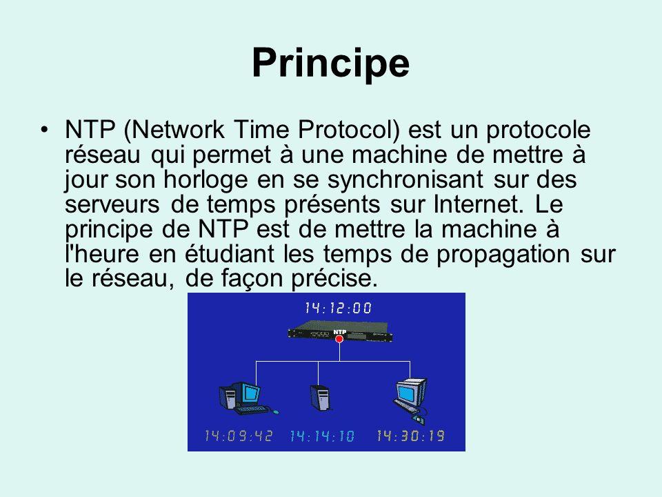 Principe Utilisé pour synchroniser le temps entre les ordinateurs de l Internet, le protocole de synchronisation du réseau garantit à un client ou serveur une précision d un millième de seconde pour les réseaux locaux (LAN), et jusqu à quelques dizaines de millièmes de secondes pour les réseaux étendus (WAN) par rapport à un serveur primaire.