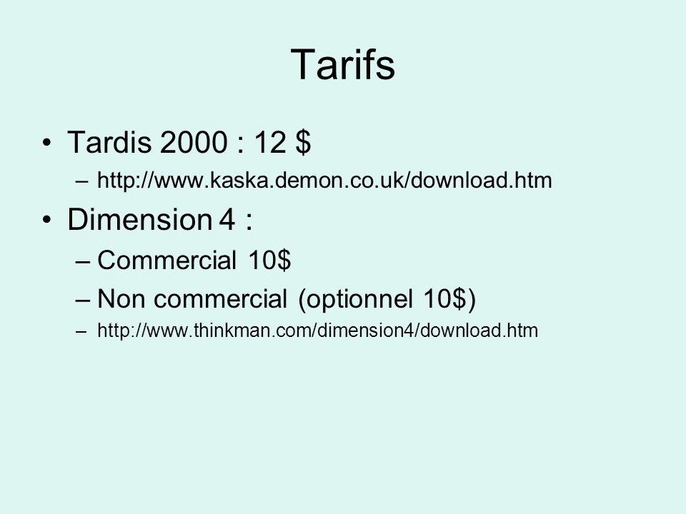 Tarifs Tardis 2000 : 12 $ –http://www.kaska.demon.co.uk/download.htm Dimension 4 : –Commercial 10$ –Non commercial (optionnel 10$) –http://www.thinkman.com/dimension4/download.htm