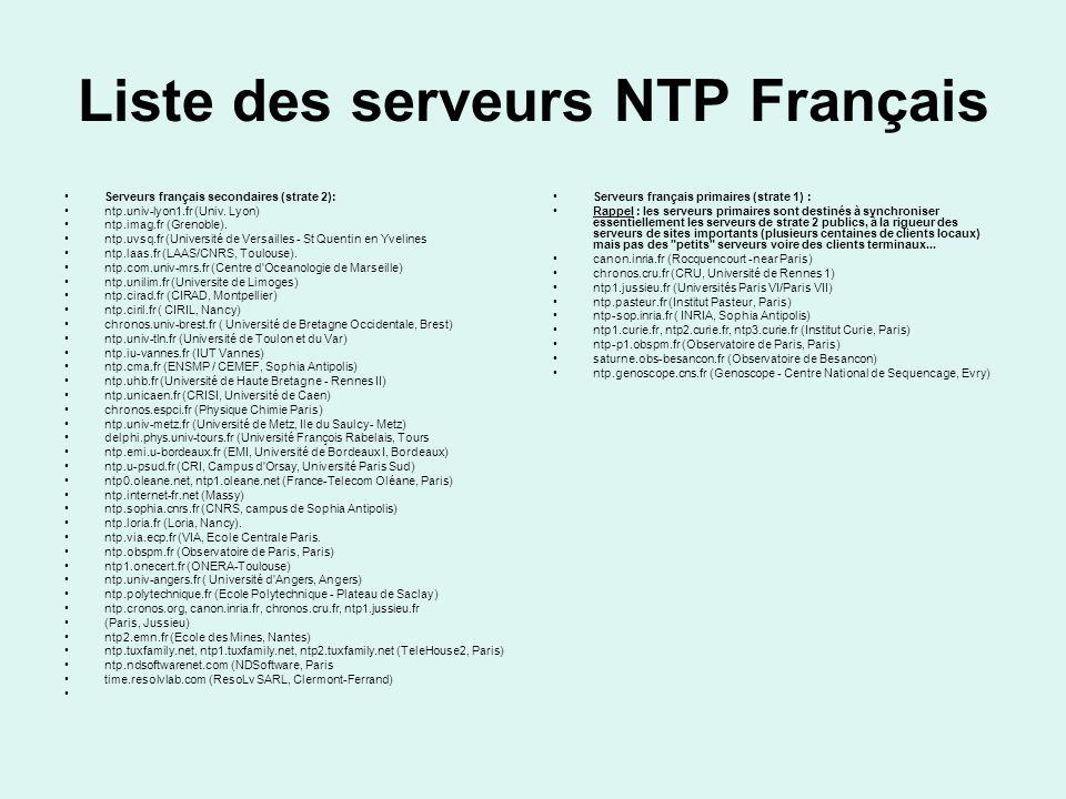 NTP par ligne de commande Sous windows XP par le protocole SMB Net time /SETSNTP Net time /SETSNTP:net0.oleane.net AT 19:06 EVERY:L,M,ME,J,V,S,D Net time /SETSNTP:net0.oleane.net Attention, essayez de synchroniser vos machines à des heures non entières , comme 9h27 ou 17h52, pour éviter de grosses charges sur les serveurs.