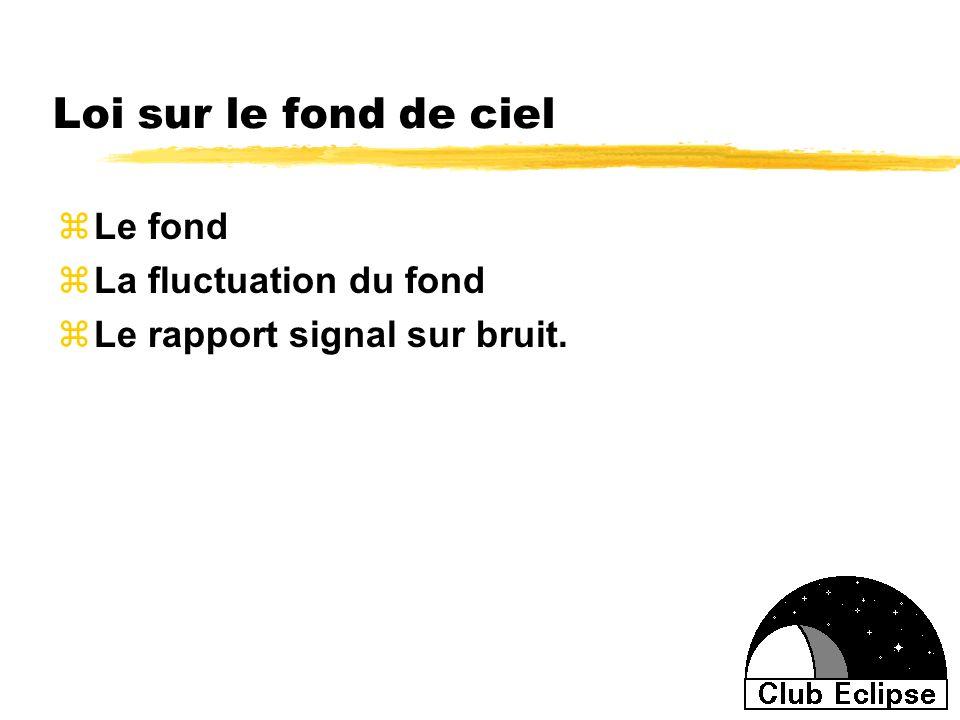 Loi sur le fond de ciel zLe fond zLa fluctuation du fond zLe rapport signal sur bruit.
