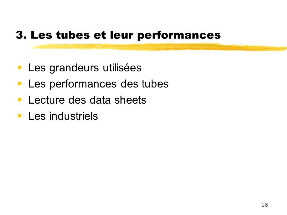 26 3. Les tubes et leur performances Les grandeurs utilisées Les performances des tubes Lecture des data sheets Les industriels