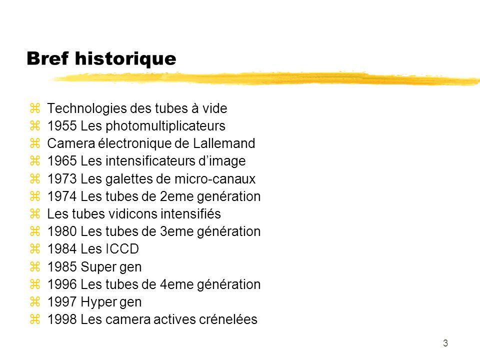 3 Bref historique zTechnologies des tubes à vide z1955 Les photomultiplicateurs zCamera électronique de Lallemand z1965 Les intensificateurs dimage z1