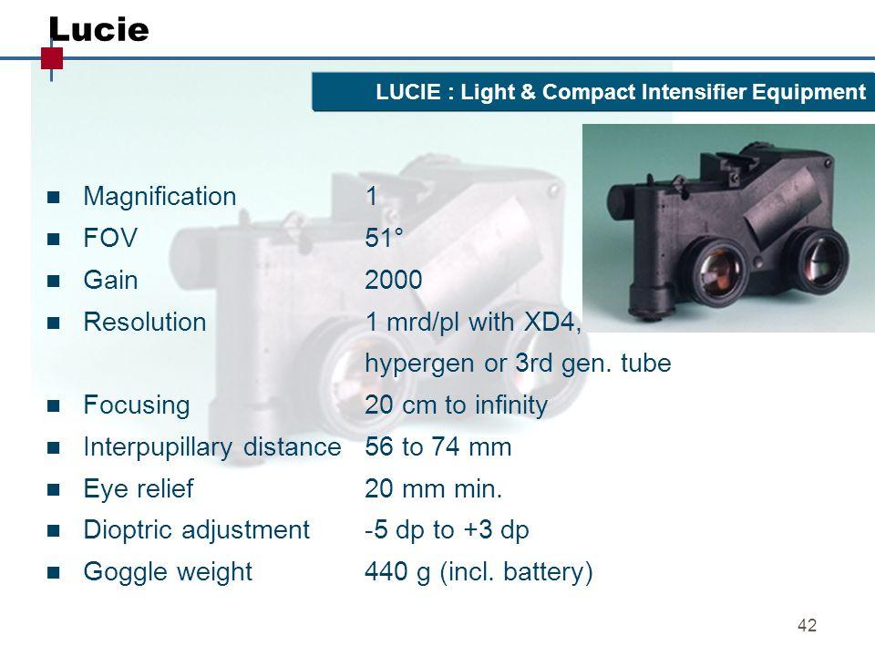 42 Lucie n Magnification 1 n FOV 51° n Gain 2000 n Resolution1 mrd/pl with XD4, hypergen or 3rd gen. tube n Focusing20 cm to infinity n Interpupillary