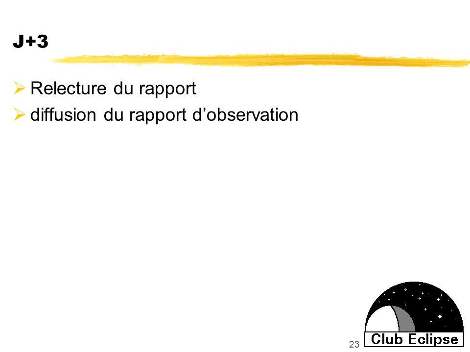 23 J+3 Relecture du rapport diffusion du rapport dobservation