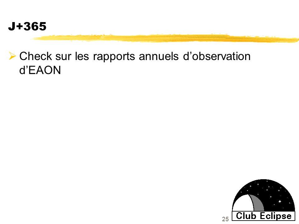 25 J+365 Check sur les rapports annuels dobservation dEAON