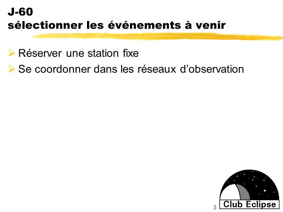 3 J-60 sélectionner les événements à venir Réserver une station fixe Se coordonner dans les réseaux dobservation