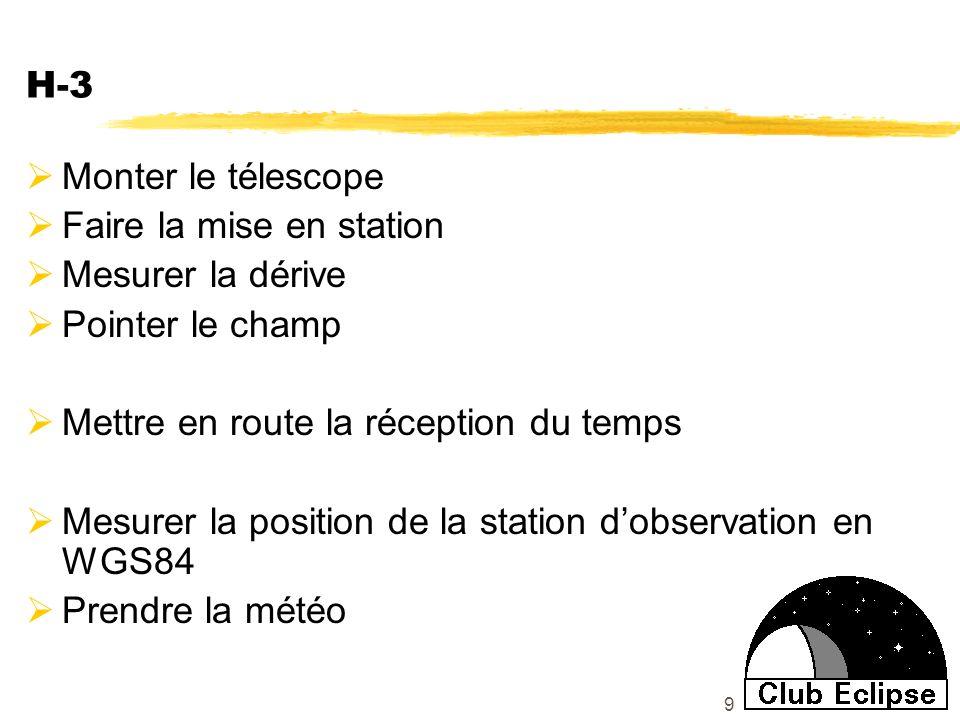 9 H-3 Monter le télescope Faire la mise en station Mesurer la dérive Pointer le champ Mettre en route la réception du temps Mesurer la position de la station dobservation en WGS84 Prendre la météo