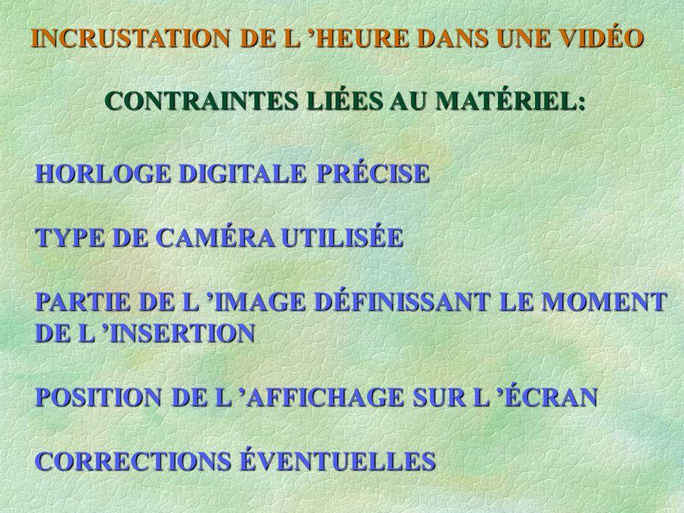 INCRUSTATION DE L HEURE DANS UNE VIDÉO ON VOIT QUE LE SIGNAL N A PAS DE « JITTER » LE 1Hz FRANCE INTER A ÉTÉ DÉCALÉ POUR LA MESURE