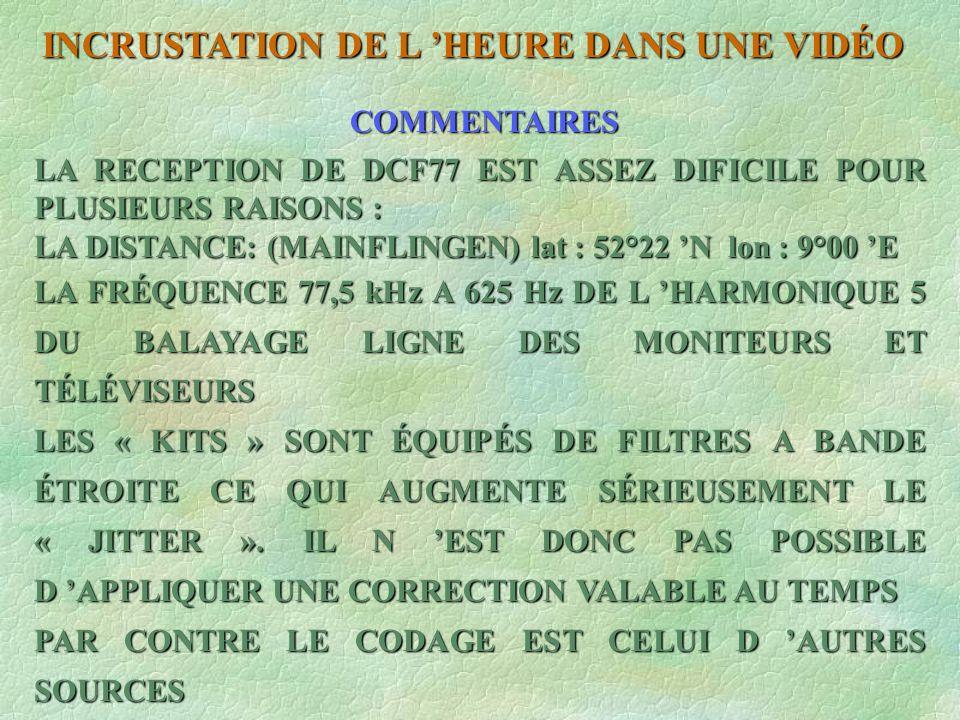 LA RECEPTION DE DCF77 EST ASSEZ DIFICILE POUR PLUSIEURS RAISONS : LA DISTANCE: (MAINFLINGEN) lat : 52°22 N lon : 9°00 E LA FRÉQUENCE 77,5 kHz A 625 Hz