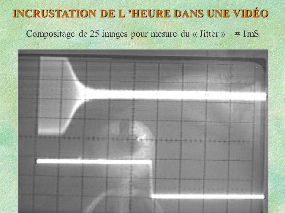 Compositage de 25 images pour mesure du « Jitter » # 1mS INCRUSTATION DE L HEURE DANS UNE VIDÉO