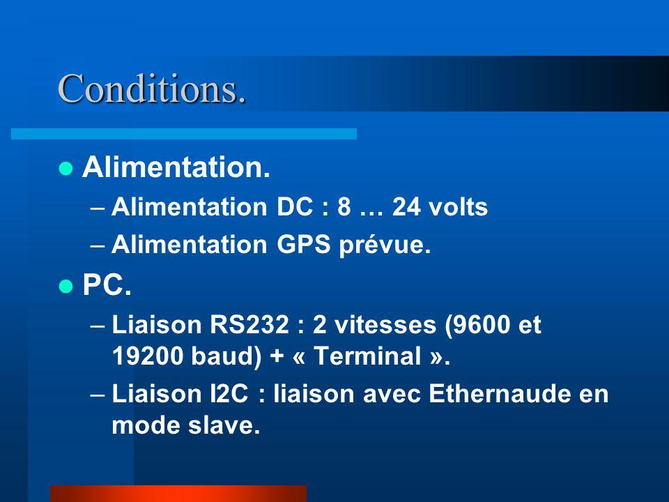 Conditions.Alimentation. –Alimentation DC : 8 … 24 volts –Alimentation GPS prévue.