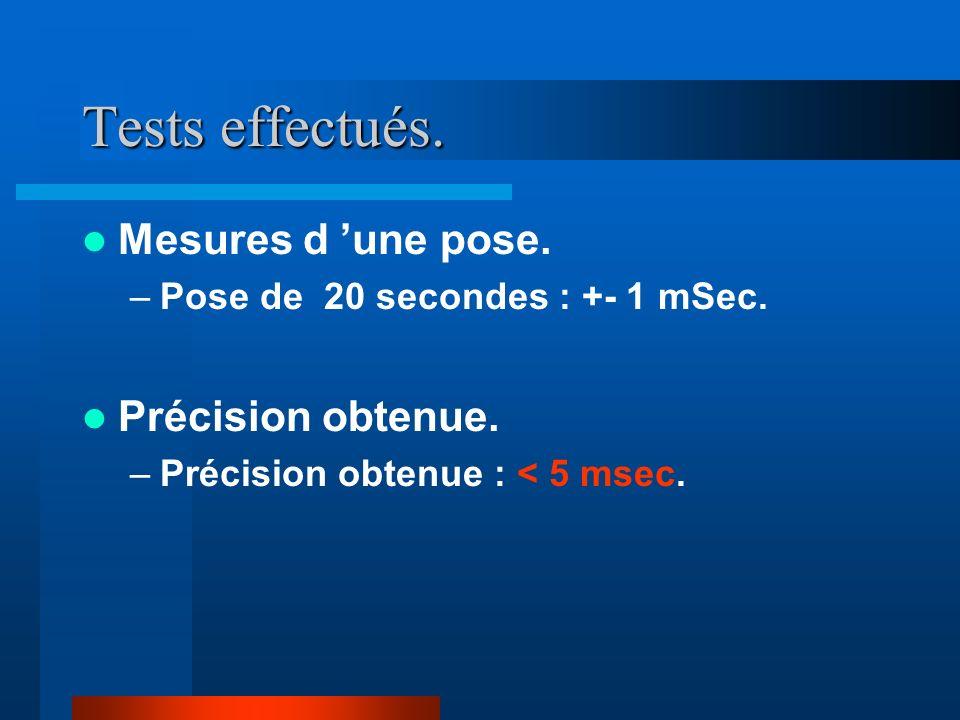 Tests effectués.Mesures d une pose. –Pose de 20 secondes : +- 1 mSec.