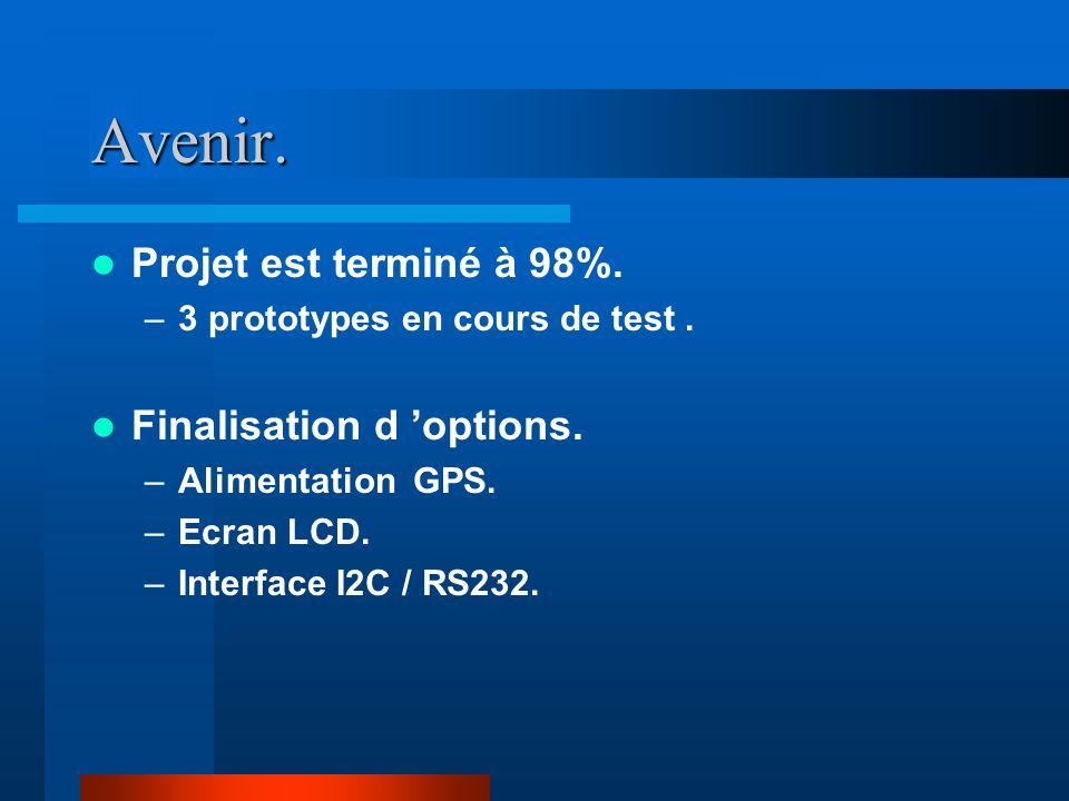 Avenir.Projet est terminé à 98%. –3 prototypes en cours de test.
