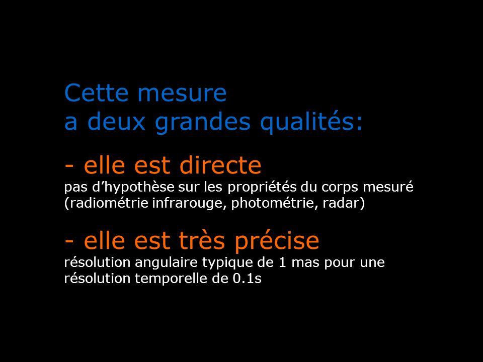 Cette mesure a deux grandes qualités: - elle est directe pas dhypothèse sur les propriétés du corps mesuré (radiométrie infrarouge, photométrie, radar