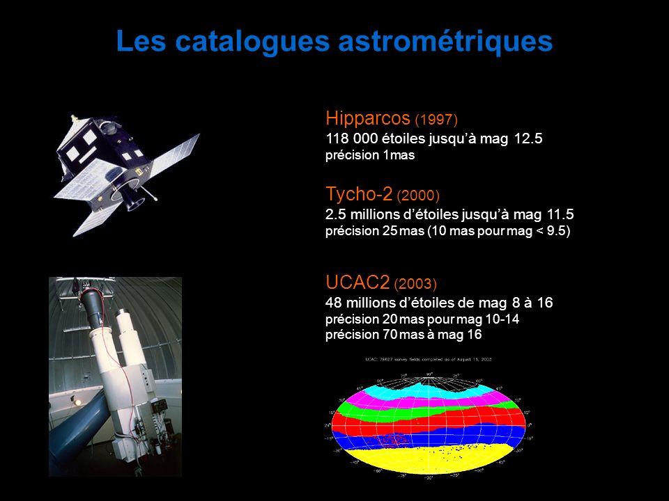 Les catalogues astrométriques Hipparcos (1997) 118 000 étoiles jusquà mag 12.5 précision 1mas Tycho-2 (2000) 2.5 millions détoiles jusquà mag 11.5 pré