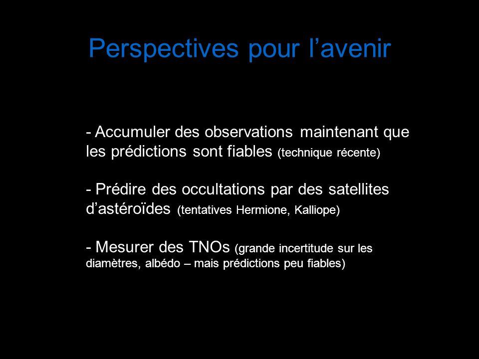 Perspectives pour lavenir - Accumuler des observations maintenant que les prédictions sont fiables (technique récente) - Prédire des occultations par