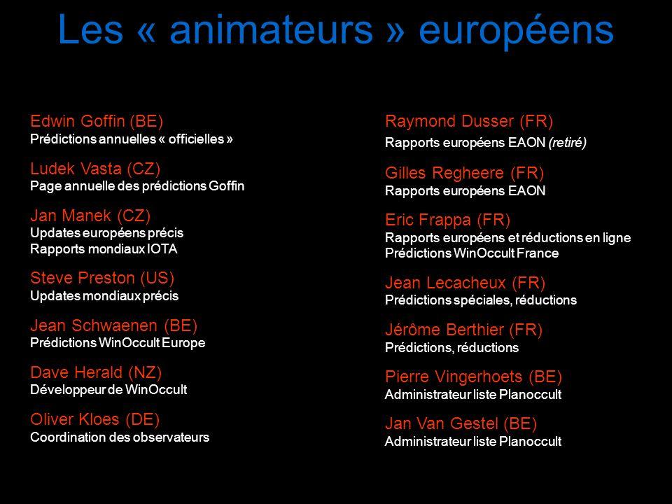 Les « animateurs » européens Edwin Goffin (BE) Prédictions annuelles « officielles » Ludek Vasta (CZ) Page annuelle des prédictions Goffin Jan Manek (